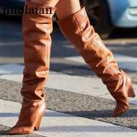 9 cm salto alto coxa botas altas sapatos femininos pele do falso sapato de neve de inverno mulher de couro preto sobre o joelho botas de inverno longo bota