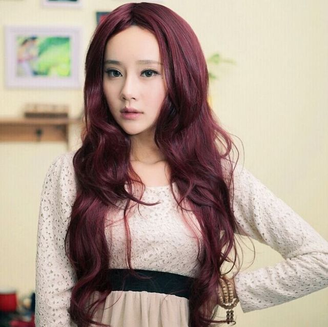 Black Wine Red Dark Brown Light Brown 80 Cm Star Hairstyle Long