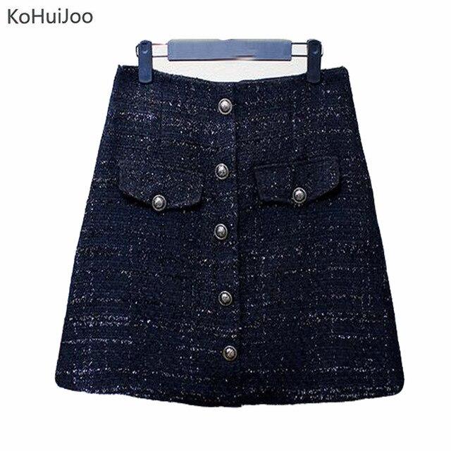 1095d9ebb62 KoHuiJoo Autumn Winter Women s Wool Skirt Plus size Button Pockets A line  Mini Tweed Skirts Ladies Fashion Short Skirt Black