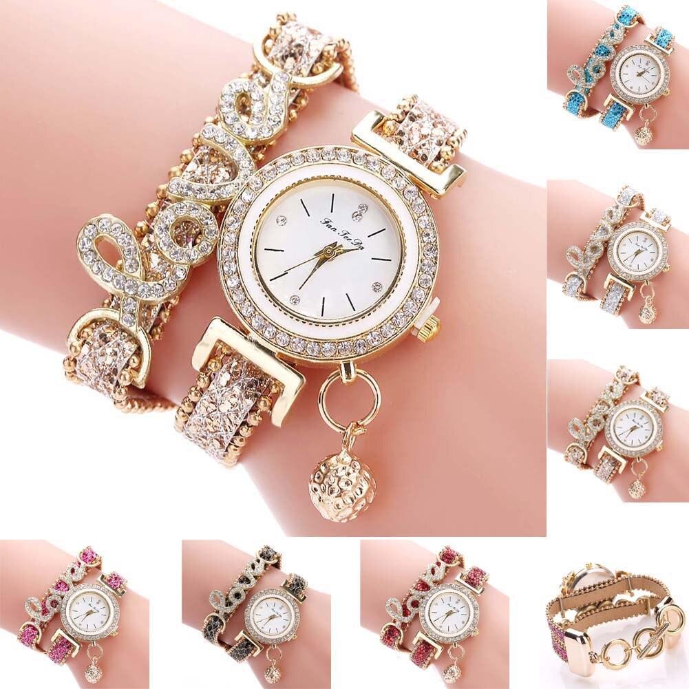 Fashion Women Multi-layer Bracelet Quartz Watch Alloy Crystal Love Letter Band Wristwatch Jewelry Gifts LXH