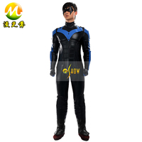 Hot Sale Batman Arkham City Nightwing Cosplay Costume Outfit Halloween Party Costumes Men Cos Costume leather jumpsuits