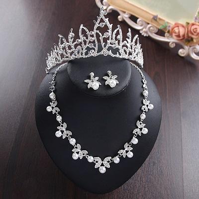 Bride Diaries New Design Crystal Pearl Bride 3pcs Set Necklace Earrings Tiara Bridal Wedding Jewelry Set Accessories (10)