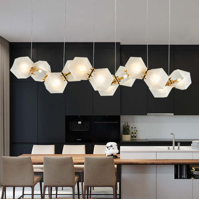 Honeycomb LED Welles Glass Pendant Lamp Long Mid-Century Suspension Lighting Pendant Light For Bar Home Pendant Lighting PA0039
