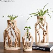 Ручная работа, деревянная ваза, украшенная массивным деревом, цветочный горшок для креативного стекла, Цветочный гидропонный контейнер, декоративная ваза для дома