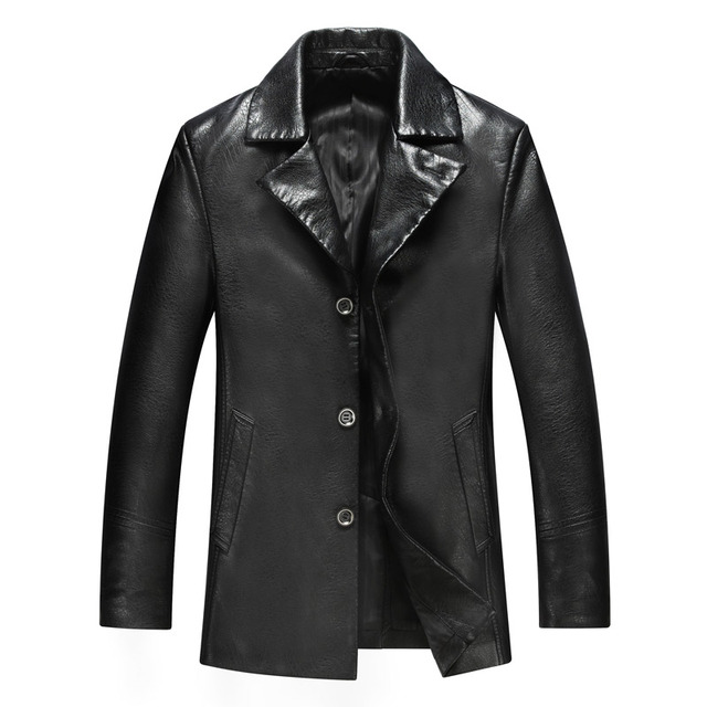 The New 2015 Men Sheep Leather Jacket High-end Men's Leather Trench Coat Men Keep Warm Fur Coat Jaqueta De Couro M-XXXL Black