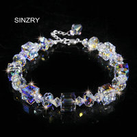 SINZRY NEW 925 Sterling Silver Imported Crystal Charm Bracelets Square Wishing Stone Luxury Glass Crystal Jewelry