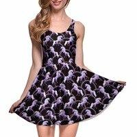 Новое прибытие 1018 Sexy Girl женские летние робот единорог атаки 3D принты Реверсивные без рукавов приталенное плиссированное платье Большие раз...