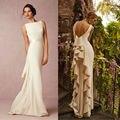 Sheath Backless Old Hollywood Style Vintage Wedding Dress Ruffle Backless Bridal Gown vestidos de noiva