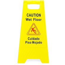 MYSBIKER Caution Wet Floor Sign, 1Pack Safety Cuadado Piso Mojado, 2-Sided Fold-Out 62*30cm
