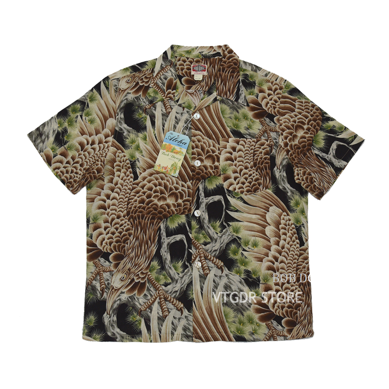 BOB DONG Big Falcon Hawaiian Shirts Retro Cotton-Flax Loop Collar Short Sleeve