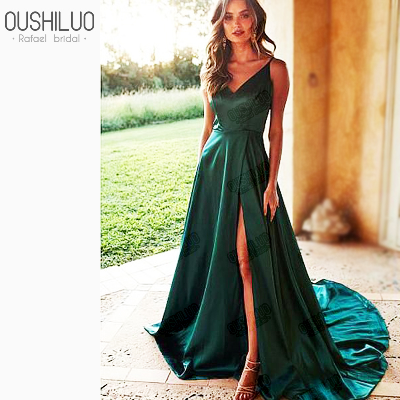 Simple Emerald satin A Line   Prom     Dresses   Gown Spaghetti Straps V neck Lace Up Back high Slit Long Formal Evening   Dress   For Latin