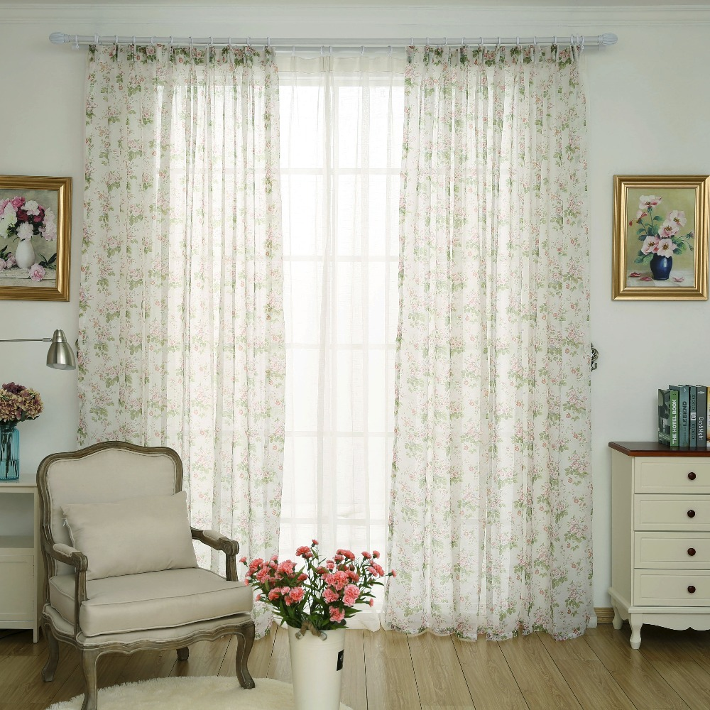 American Country Tulle Curtains For Living Room Ready Made Sheer Organza Flower Chiffon Curtains