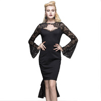 Palace Tail Pleated Dresses Gothic Ladies Lace Backless Party Dresses Tail Sexy Bodycon Pencil Dress