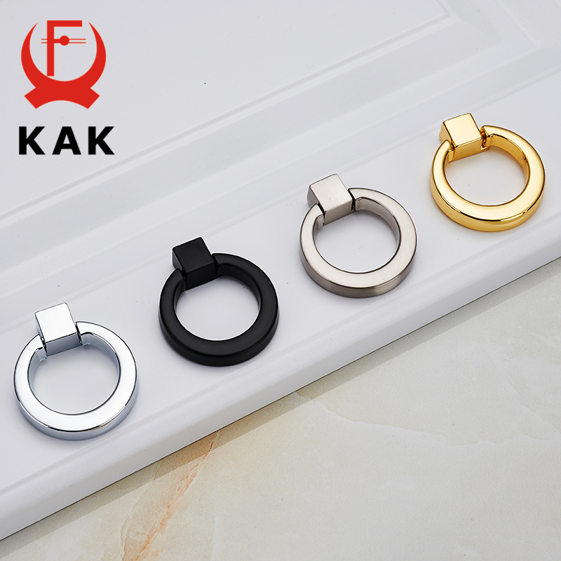 KAK 5PCS Ring Circle Handles Zinc Alloy Door Handle Pulls American Cabinet Drawer Knobs With Screws For Furniture Hardware 96mm cabinet handles palace euro style furniture ivory with 24k golden knobs closet door handle drawer pulls bars