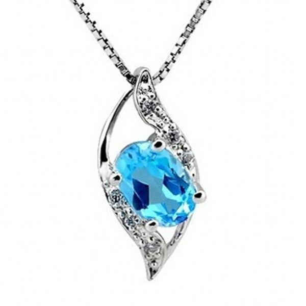 TOP Fashion Stone Silver Necklace Blue Dream Natural Topaze Pendant  Necklaces Long Neckless for Women Men Jewelry a897bb281ce9f