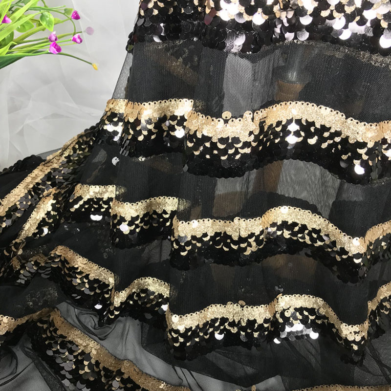 NEW Gold Black Deep Blue Stripes Sequins Fabric Embroidered Beads Gauze Mesh Fabric 2018 Designer Material Bazin Riche Getzner