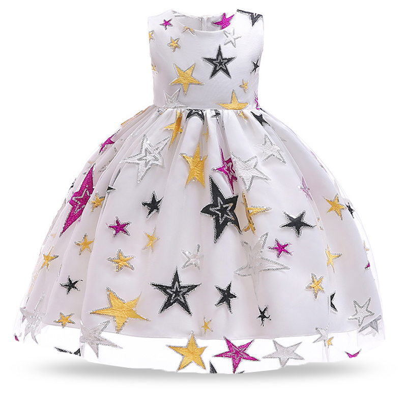 2018 Winter Stars Long Sleeve Kids Dresses For Girls Children Flower Lace Girls Dress Party Wedding Princess Dress 4 2 10 Years hot sale flower girls lace dresses for party and wedding lovely princess kids dress fashion children s clothing free shipping