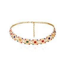New Fashion Women Square Gold Chain Belt Female Colored Stones  Rhinestone Golden Dress Waist Metal Belts Jeans Ketting Riem C73