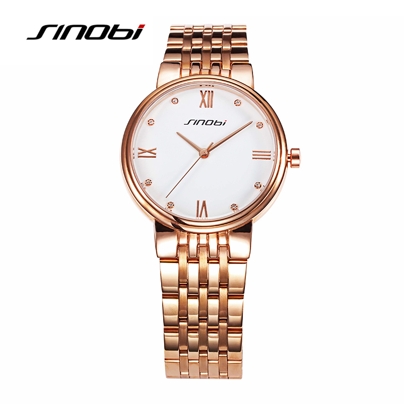 2017 SINOBI Fashion Box Women Christmas Gifts Quartz Watch Bracelet Wrist Watch Golden Saat Luxurious Clock Ladies Quartz Clock