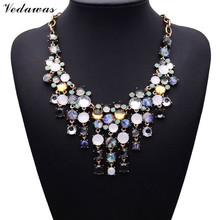 2015 New Fashion XG062 Brand Za Jewelry Statement Necklace Lady's Multi-color Crystal Gorgeous Necklaces Pendants Wholesale