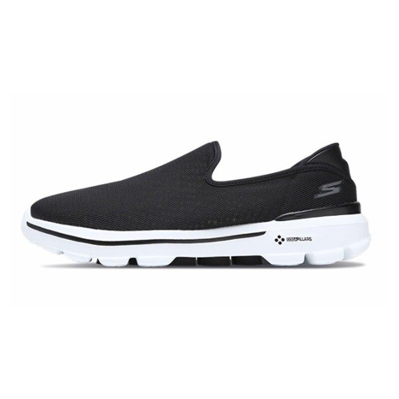 Skechers/Мужская обувь; Лоферы для прогулок; повседневная обувь черного цвета без застежки; Мужская Удобная дышащая обувь на плоской подошве; Мужская брендовая Роскошная обувь; 54062 BKW - 5