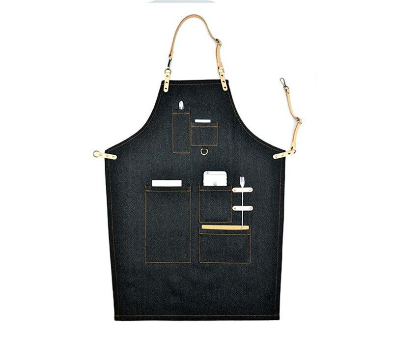 Cozinha que Cozinha o Avental com Ajustável Cinta de Algodão Denim Grandes Bolsos Azul Homens e Mulheres Homewear Barista