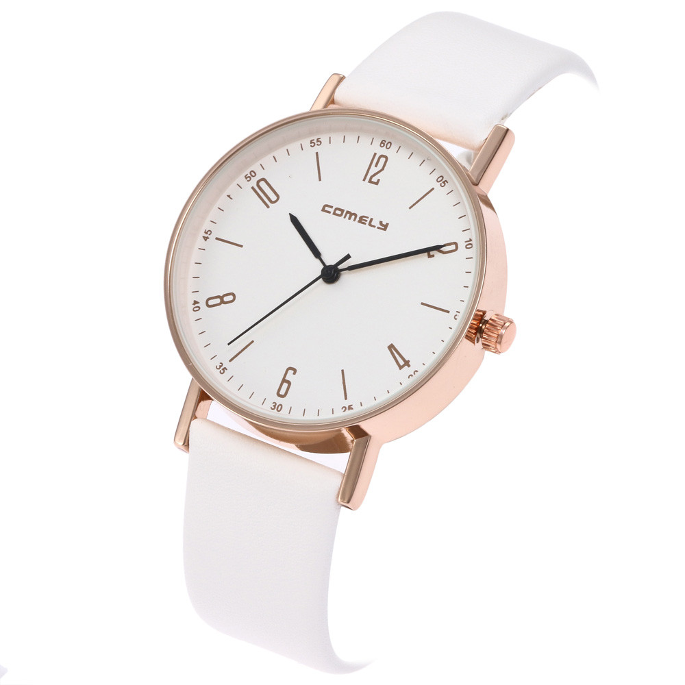 New Hot Women Men Fashion Simple Leather Band Analog Quartz Round Wrist Watch Watches clock relogio feminino Ladies Watch xfcs cute cat watch women pu leather wrist watches vogue ladies casual analog quartz watch 2017 new fashion clock relogio feminino