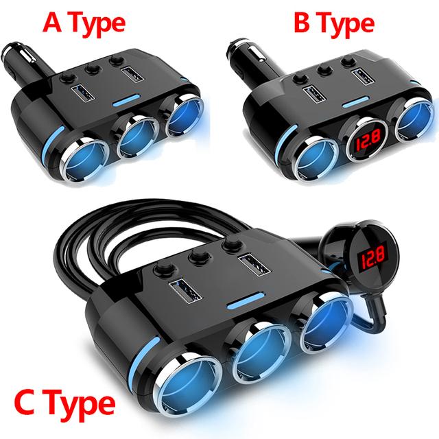 12V-24V Car Cigarette Lighter Socket Splitter Plug LED USB Charger Adapter USB Car Charger For Mobile Phone MP3 DVR Accessories
