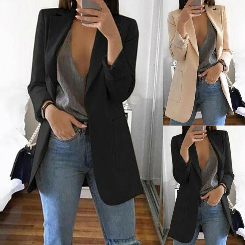 New Women Long Sleeve Slim Blazer Suit Coat Workout Jacket Lapel OL Casual Solid Color Women Blazer Elegant