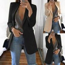 New Women Long Sleeve Slim Blazer Suit Coat Workout Jacket Lapel OL Casual Solid Color Elegant