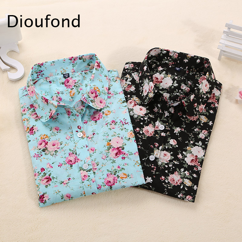 Dioufond Women Cotton Blouses Summer Cute Lemon Bird Print Long Sleeve Blouse Shirt Woman Tops Plus Size 2018 New