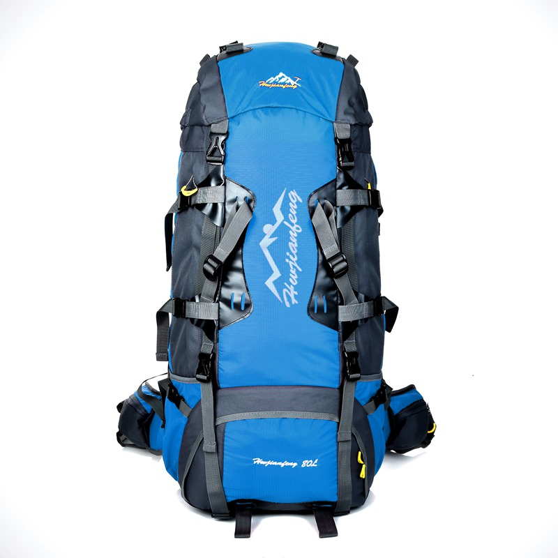 80L Outdoor Hiking Backpack Camping Waterproof Treking Sports Bags Rain Cover Mountaineering Bag Metal Frame Climbing Rucksack 75l waterproof climbing hiking backpack rain cover bag women men outdoor camping climbing bag mountaineering rucksack