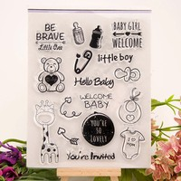 Scrapbook DIY Hello Baby Stempel Sellos 14x18 Cm ACRYLIC Clear STAMPS FOR PHOTO Timbri SCRAPBOOKING Stamp