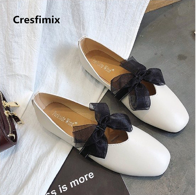 Cresfimix zapatos de mujer women fashion soft pu leather white flat shoes with bow tie lady cute spring & summer shoes c2380 ym 2018 eu 35 40 spring autumn new fashion casual bow tie womens flat shoes woman shallow peas shoes ladies girls zapatos mujer