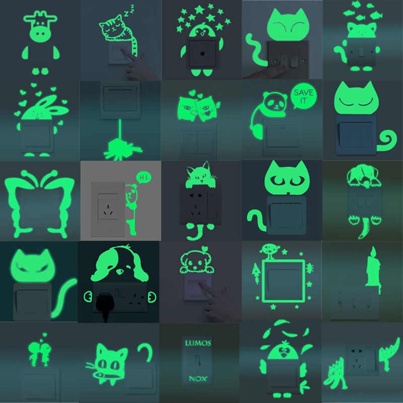 Urijk 만화 빛나는 스위치 스티커 어두운 벽에 스티커 홈 장식 아이 방 장식 스티커 데 칼 고양이 요정 문 스타