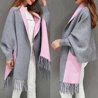 2017 hohe Qualität Oversize Doppelseite Schal Winter Luxus Cashmere Frauen Feste Designer Weiblichen Langen Ärmeln Wrap Vintage Schal