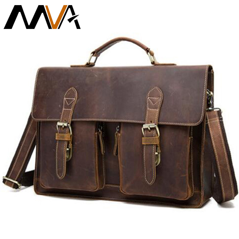 MVA Crazy Horse Leather Men Briefcases Genuine Leather Laptop Bag Men's Briefcases Office Bags For Men Messenger Bags 9033