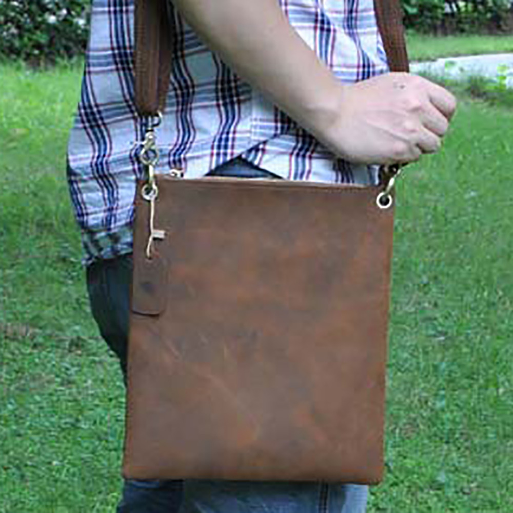 New Crazy Horse Genuine Leather Men Business Briefcase Vintage Student Cross Body Book Bags Cowhide Messenger