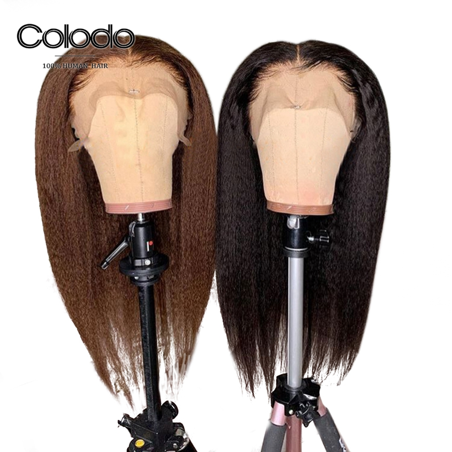 Colodo Hair 13x4 Brazilian Kinky Straight Wig With Baby Hair Pre Plucked Remy Brown Lace Front