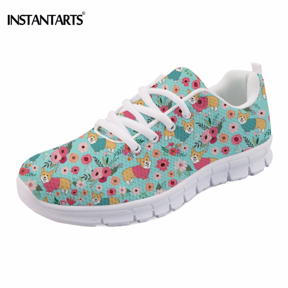 INSTANTARTS Women Flats Cute Pet Dog Corgi Flower Pattern Sneakers Breathable Comfortable Lace Up Mesh Casual Flat Shoes Female instantarts casual women s flats shoes emoji face puzzle pattern ladies lace up sneakers female lightweight mess fashion flats
