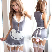 Sexy Maid Uniform Teddy Lingerie Sexy Hot Erotic Lingerie For Women Lace Babydoll Dress Sexy Maid