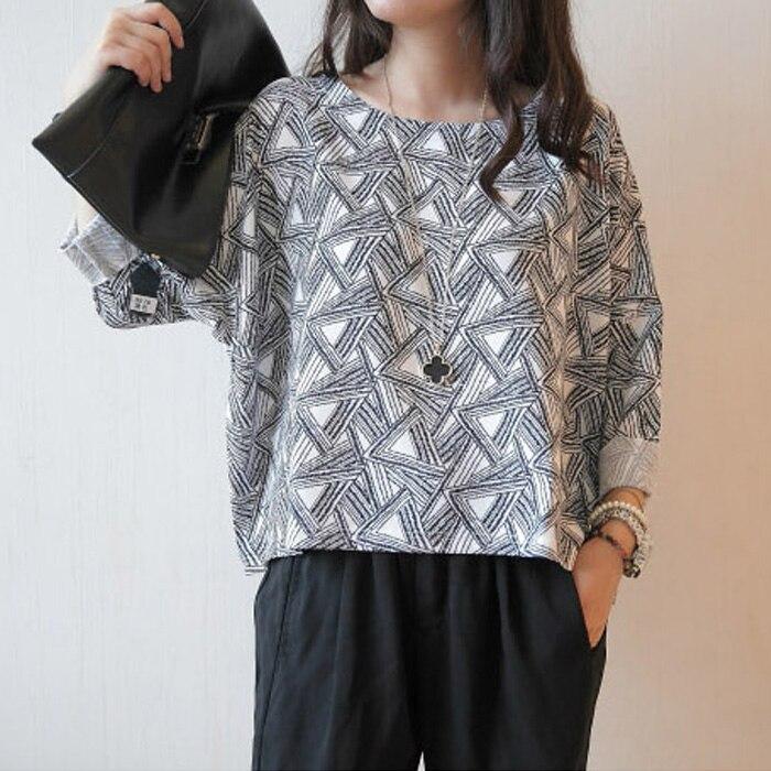 2014 nuevo o-cuello de tres cuartos primavera gráficos geométricos  Pegatinas para uñas diseño de tres del cuarto camiseta de las mujeres flojas f83646fd615bd