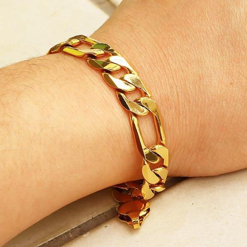 Vintage Chunky Yellow Gold Filled Men S Bracelet Necklace 23 6 9 0