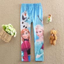 New 2016 Kids 3-9Y Spring Summer Snow Queen Pants Girls Cartoon Elsa Anna Fashion Leggings Children Baby Trousers