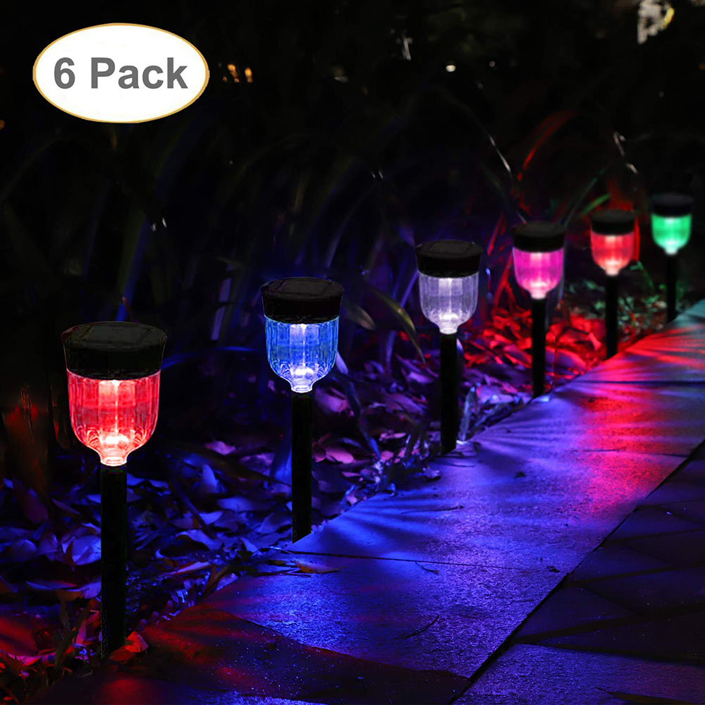 6Pcs Solar Lights Bright Outdoor Garden Pathway Stake lights Waterproof Auto On off Landscape Lighting for