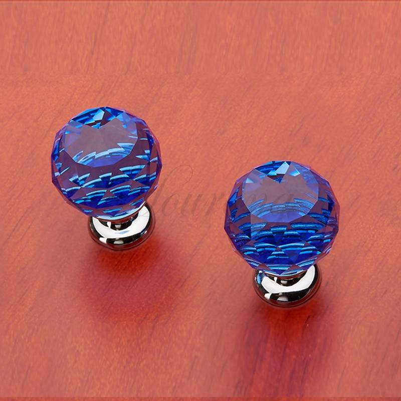 5pcs 30mm Blue Crystal Glass Door Handles Drawer Knob Furniture