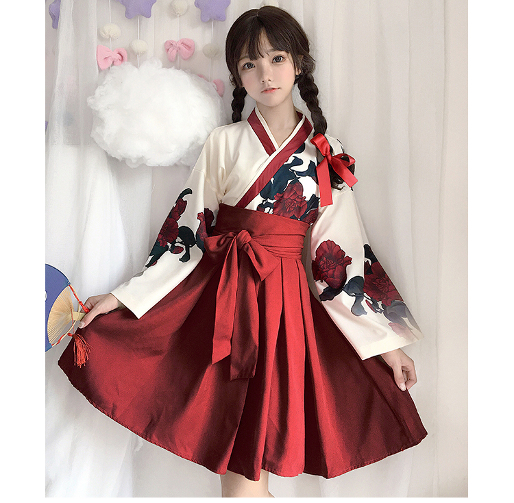 Girls Japanese Style Retro Kimono Floral Long Sleeve Woman Party Dress Summer Fashion Outfits Top Bow Skirt Haori for Female 13