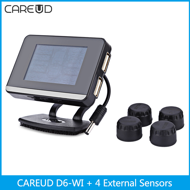 CAREUD D6-WI Car TPMS Tire Pressure Monitoring System 4 External Sensors Temperature Alarm LCD Display Cigarette Lighter Socket careud u903 wf tpms wireless tire pressure monitor with 4 external sensors