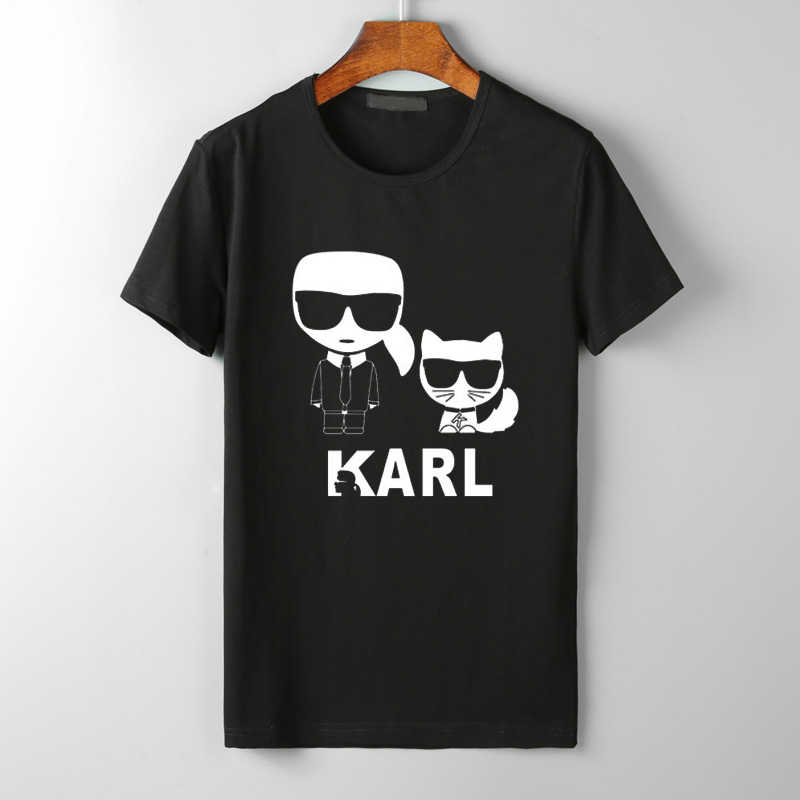 Karl Lagerfeld T Shirt women Unisex couple clothes graphic tees cat animal print Vogue bts tshirt femme streetwear korean style