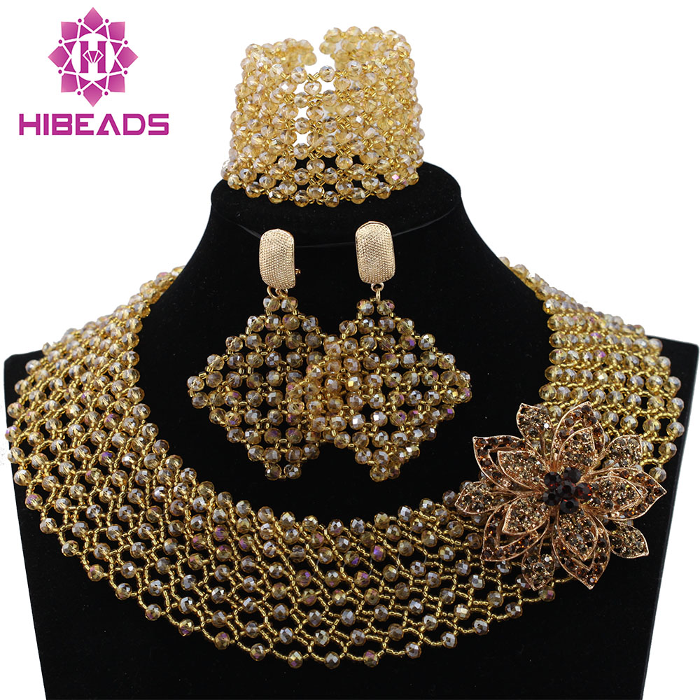 Hot Sale Nigerian Wedding African Beads Jewelry Set Gold Crystal Lace Jewelry Sets Women Choker Necklace Free Shipping ABL183 2018 hot sale nigerian african lace fabrics french guipure tulle gold line bridal lace fabric for wedding party dress 5yds c8415